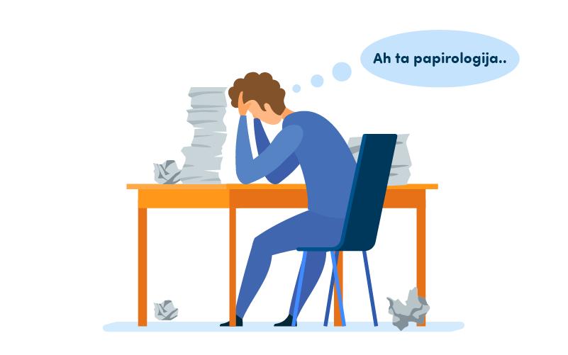Ilustrirani strip prikazuje čovjeka koji sjedi pored velike hrpe papira.
