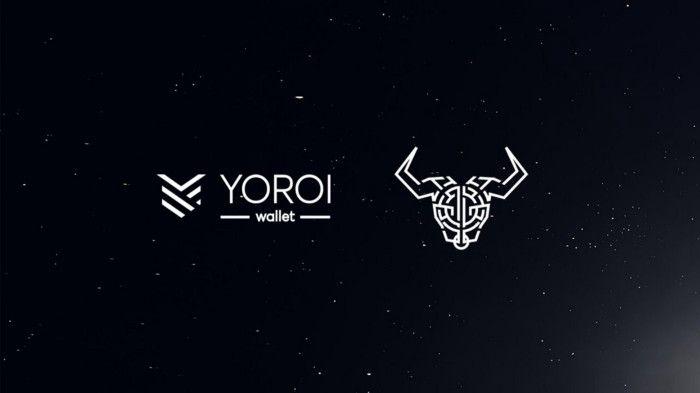The white logo of the YOROI wallet on the black background.