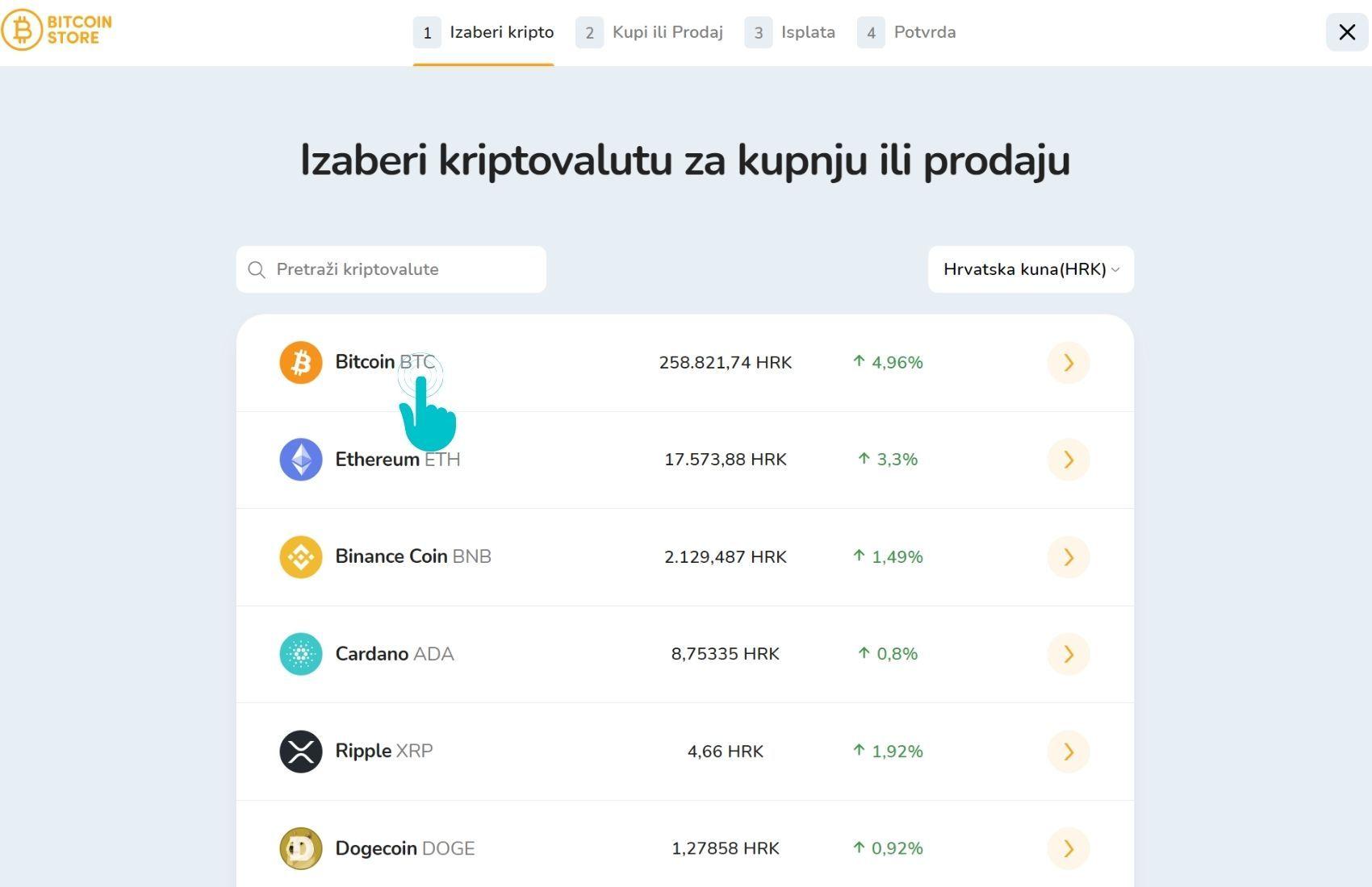 Popis kriptovaluta za kupnju i prodaju na Bitcoin Store Walletu.