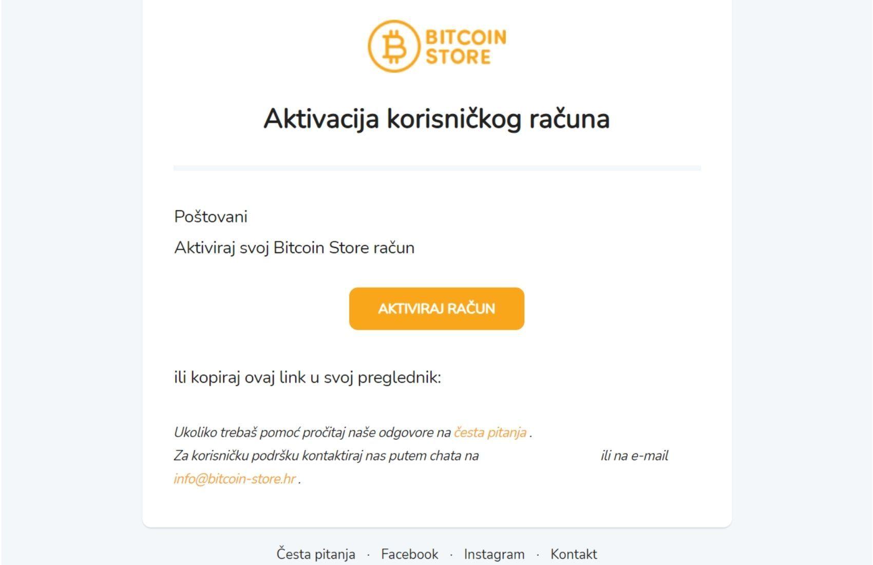 Email potvrda za aktivaciju korisničkog računa na Bitcoin Store platformi.