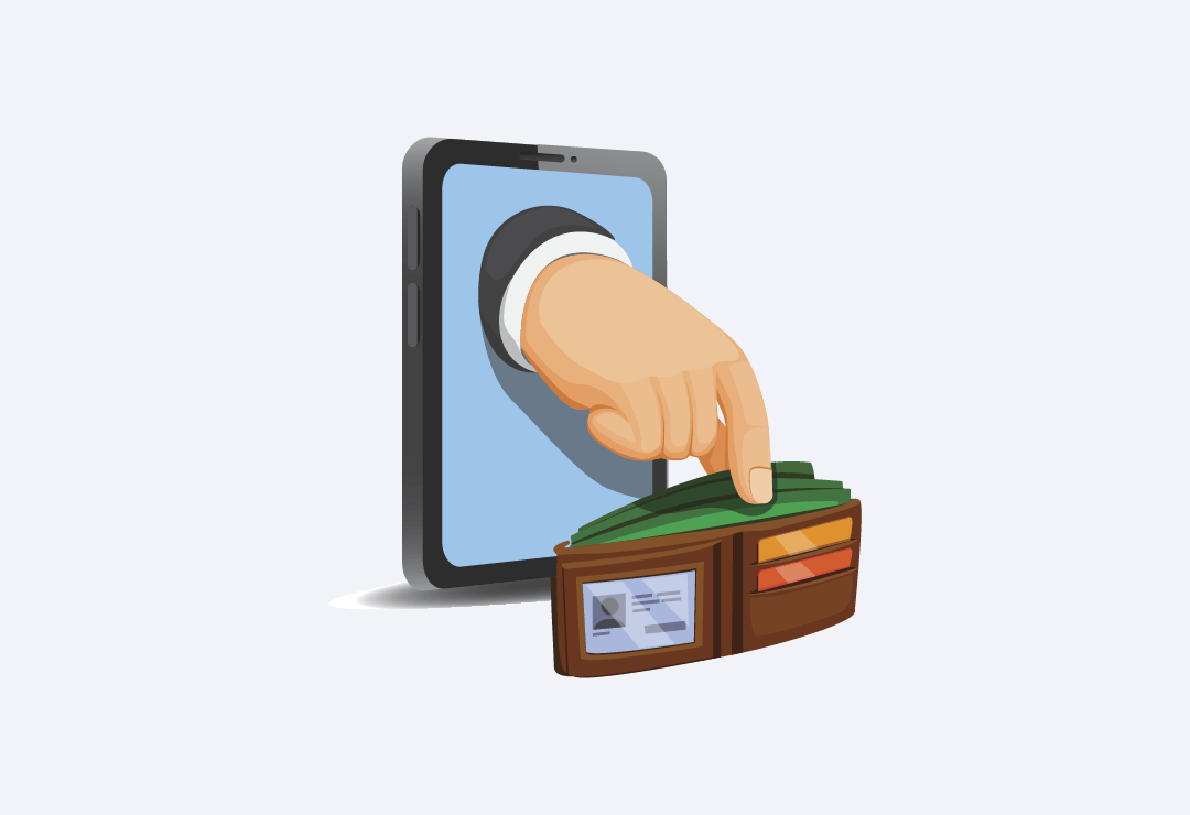 Vektorska ilustracija ruke koja izlazi iz pametnog telefona i krade novac iz novčanika.