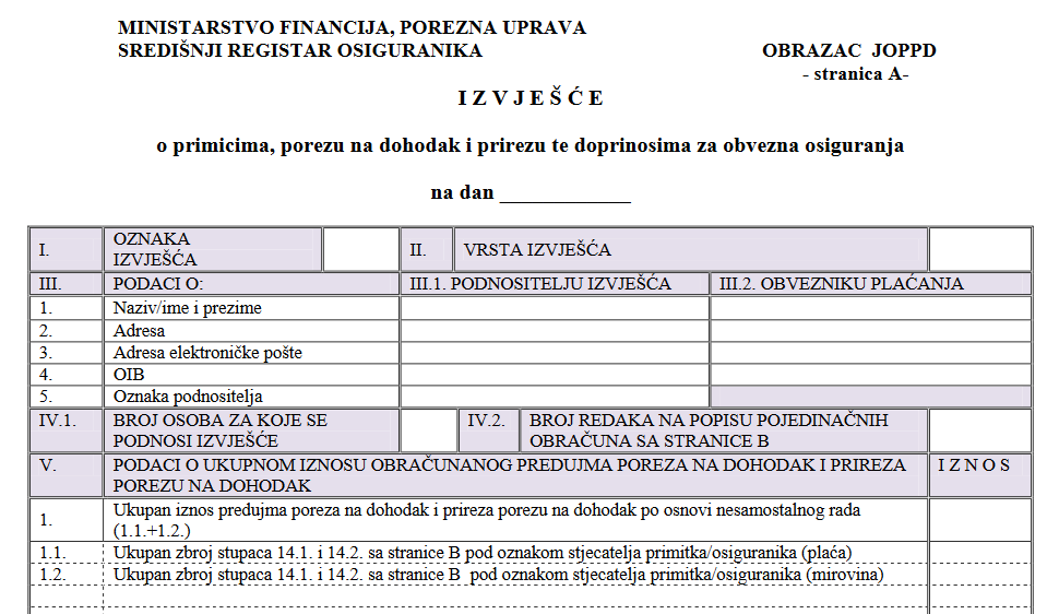 Primjer JOPPD obrasca za prijavu poreza.