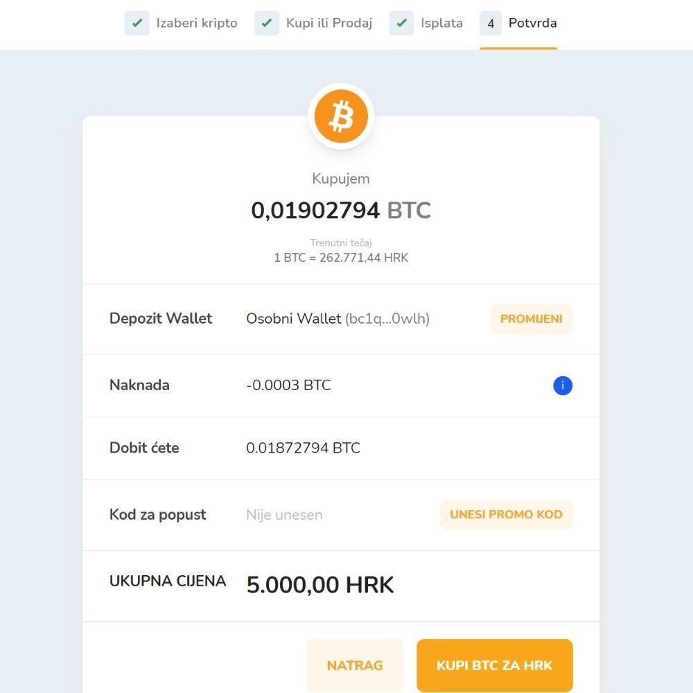 Snimak zaslona prikazuje detalje kupovine Bitcoina putem Bitcoin Store platforme.