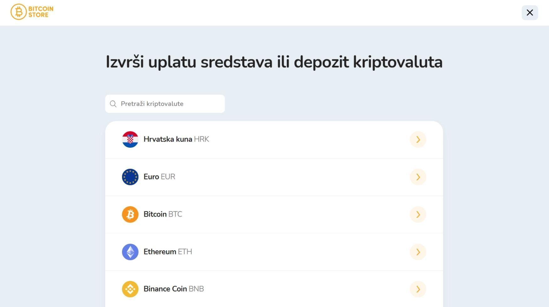 Prozor za odabir fiat valute za depozit na Bitcoin Store platformi.