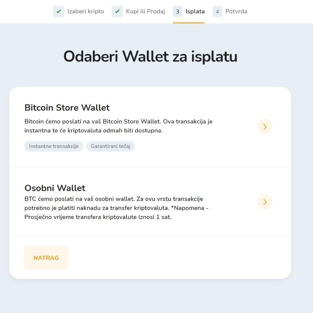 Snimka zaslona - odabir walleta za isplatu sredstava.