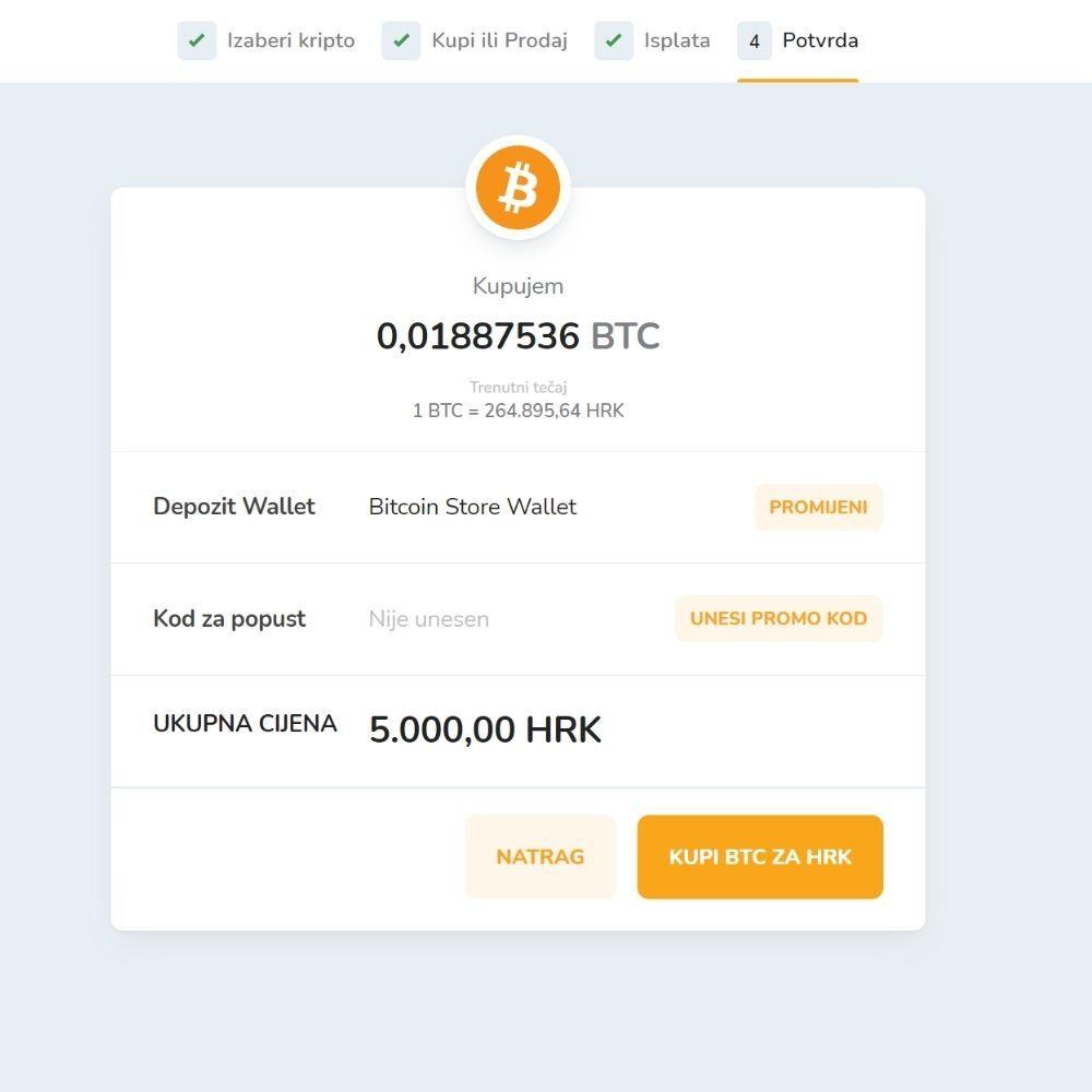 Posljednji korak za kupovinu kriptovalute na Bitcoin Store platformi.