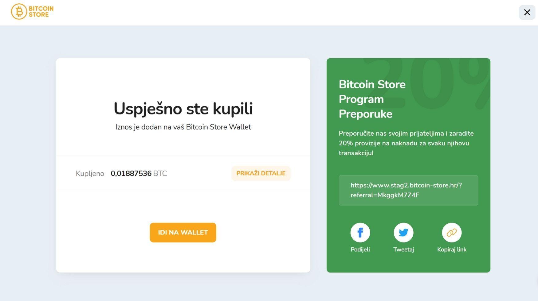 Prozor za uspješnu kupovinu Bitcoina putem Bitcoin Store platforme.
