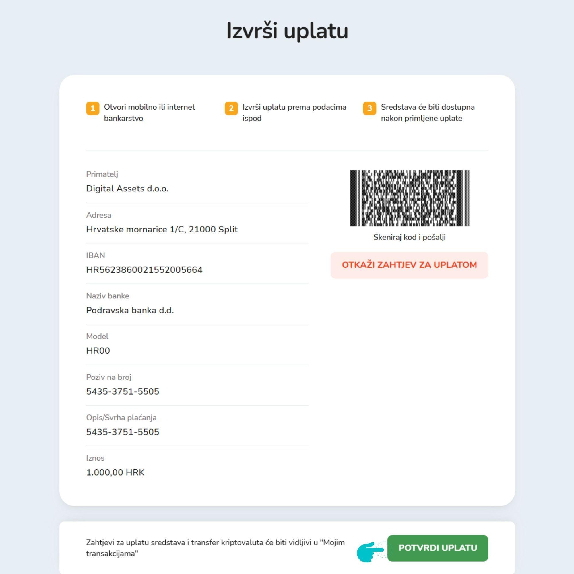 Prozor s podacima za uplatu novčanih sredstava na Bitcoin Store platformi.
