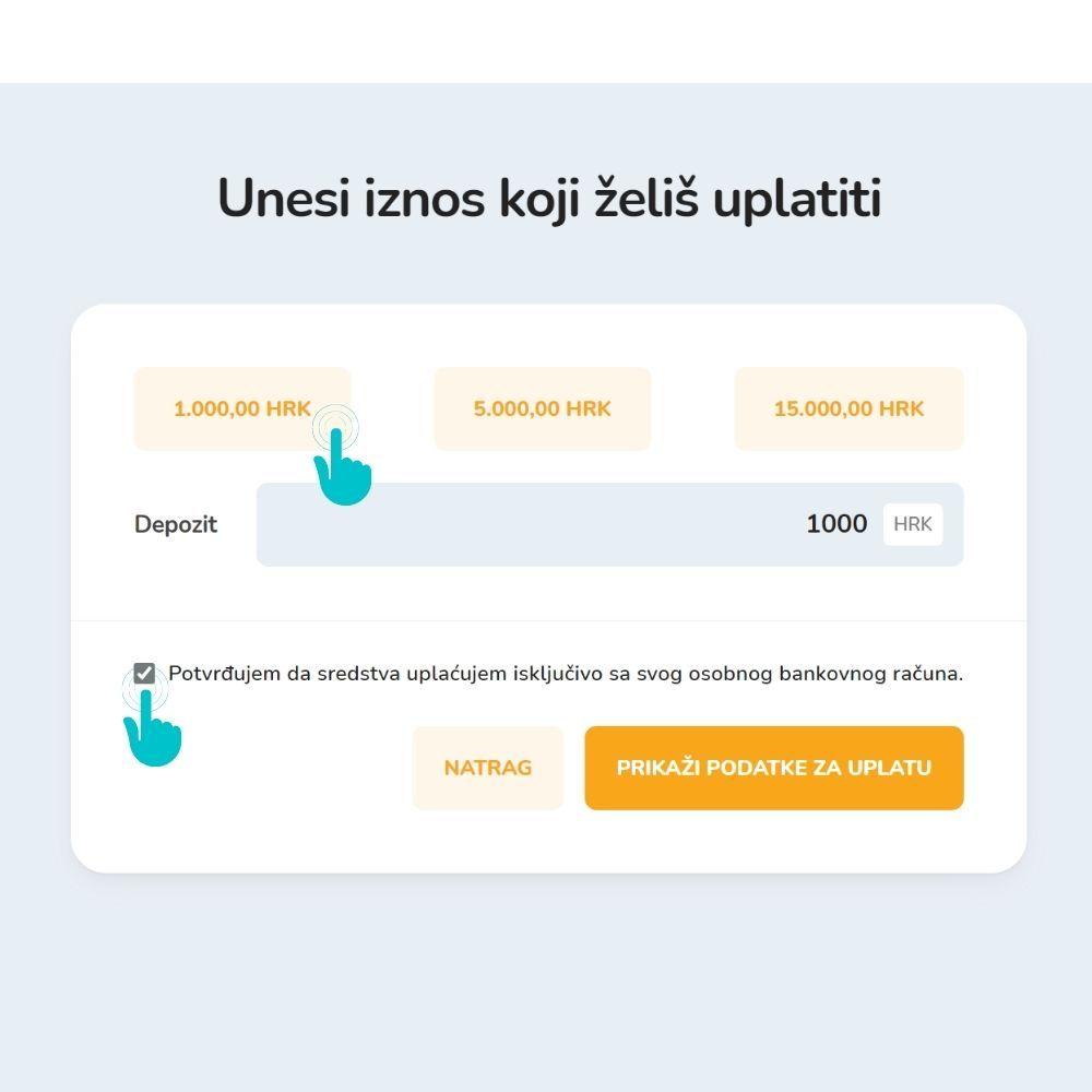 Snimak zaslona za uplatu novčanih sredstava na Bitcoin Store Wallet.