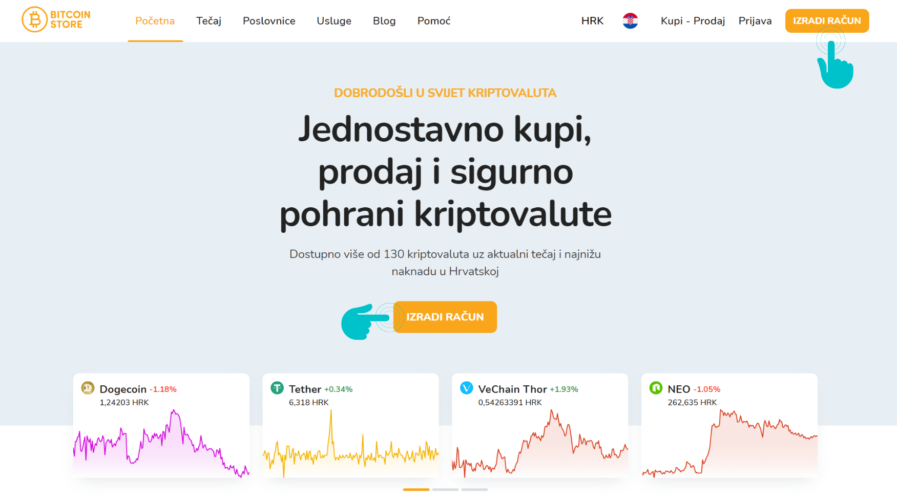 Snimak početnog zaslona Bitcoin Store web stranice.