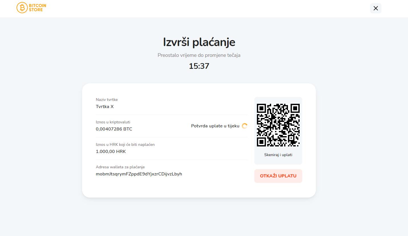 QR kod za plaćanje putem Bitcoin Store POS sustava.