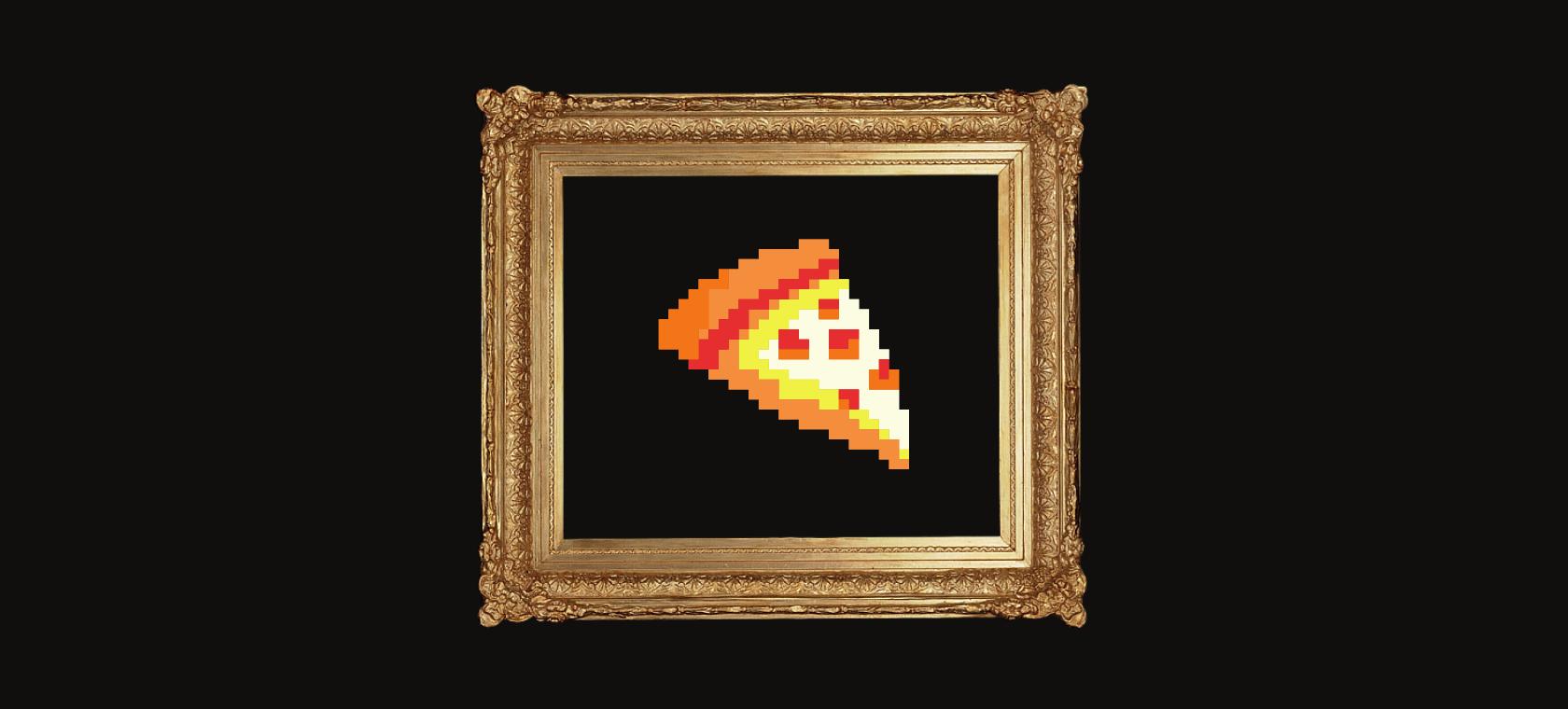 Piksel ilustracija NFT pizze u zlatom okviru za slike.